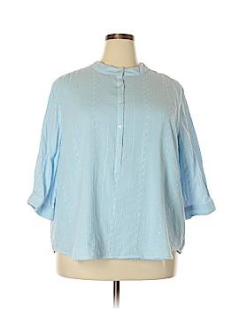 Denim & Co 3/4 Sleeve Button-Down Shirt Size 3X (Plus)