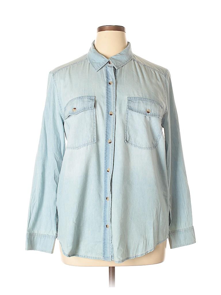 defb2928848871 Chelsea   Violet Solid Light Blue Long Sleeve Button-Down Shirt Size ...