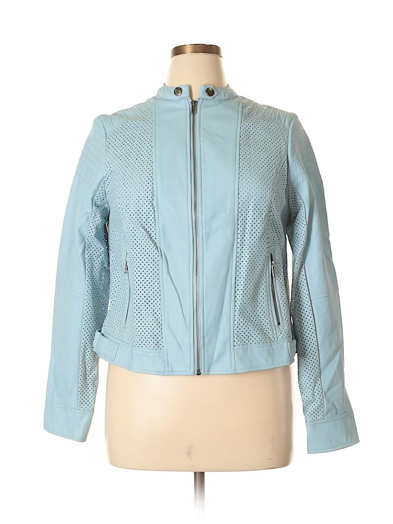 66a369481debb Torrid 100% Polyurethane Solid Light Blue Faux Leather Jacket Size ...