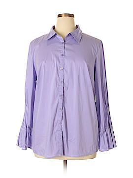 Dialogue Long Sleeve Button-Down Shirt Size 1X (Plus)