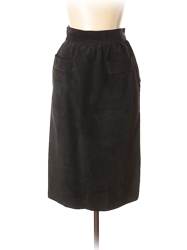 32b3d2e238 Yves Saint Laurent Rive Gauche 100% Suede Solid Black Leather Skirt ...