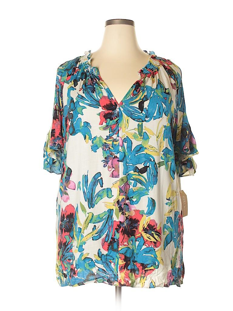 RACHEL Rachel Roy Women Short Sleeve Blouse Size 1X (Plus)