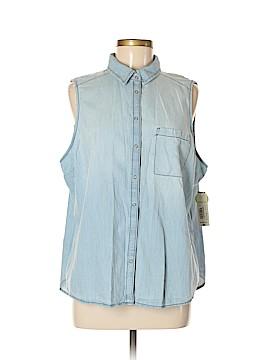 Arizona Jean Company Sleeveless Button-Down Shirt Size 0X (Plus)