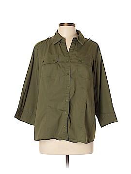 Preswick & Moore 3/4 Sleeve Button-Down Shirt Size 1X (Plus)