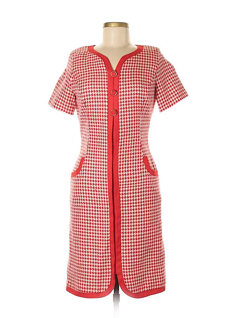 eaace0f967227 CH Carolina Herrera 100% Silk Houndstooth Red Casual Dress Size 8 ...