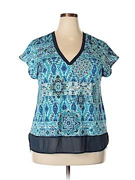 Roz & Ali Short Sleeve Blouse Size 1X (Plus)