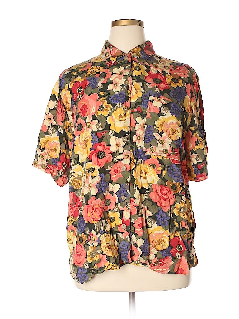 4979c0f4 Elisabeth by Liz Claiborne 100% Rayon Floral Dark Green Short Sleeve ...