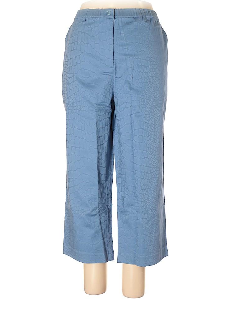 Susan Graver Animal Print Blue Casual Pants Size 2x Plus 90 Off