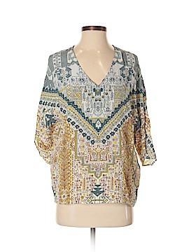 Ecru 3/4 Sleeve Silk Top Size S