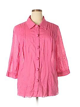 R.Q.T 3/4 Sleeve Button-Down Shirt Size 2X (Plus)