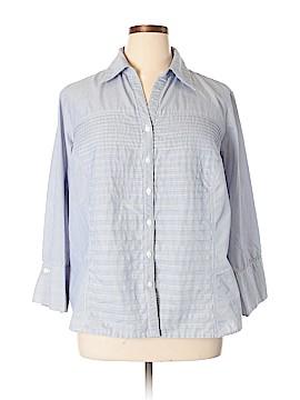 Zac & Rachel 3/4 Sleeve Button-Down Shirt Size 3X (Plus)
