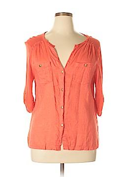 August Silk 3/4 Sleeve Button-Down Shirt Size L