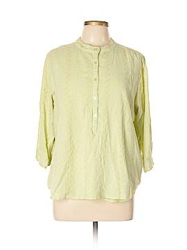 Denim & Co 3/4 Sleeve Button-Down Shirt Size XL