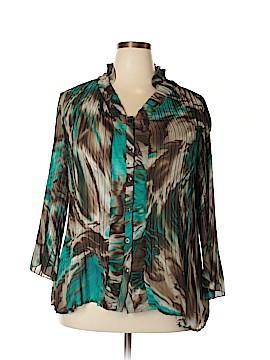 Signature by Larry Levine 3/4 Sleeve Blouse Size 2X (Plus)