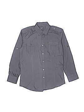 No Retreat Long Sleeve Button-Down Shirt Size 14 - 16