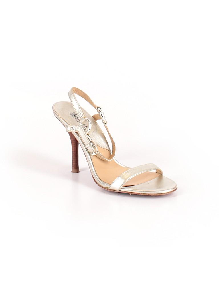 78ea6eb3ae MICHAEL Michael Kors 100% Leather Metallic Gold Heels Size 7 1/2 ...