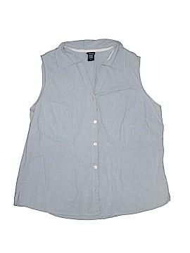 Basic Editions Sleeveless Button-Down Shirt Size 1X (Plus)
