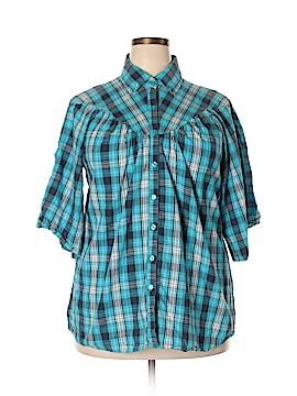 Caren Sport 3/4 Sleeve Button-Down Shirt Size 1X (Plus)