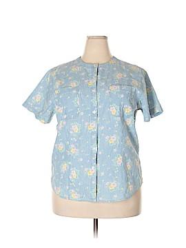 Karen Scott II Short Sleeve Button-Down Shirt Size 1X (Plus)