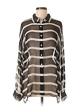 Worth New York Long Sleeve Silk Top Size L