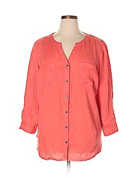 JM Collection 3/4 Sleeve Button-Down Shirt Size 20W (Plus)