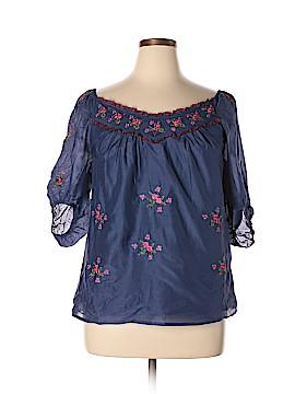 Blue Tassel 3/4 Sleeve Blouse Size L