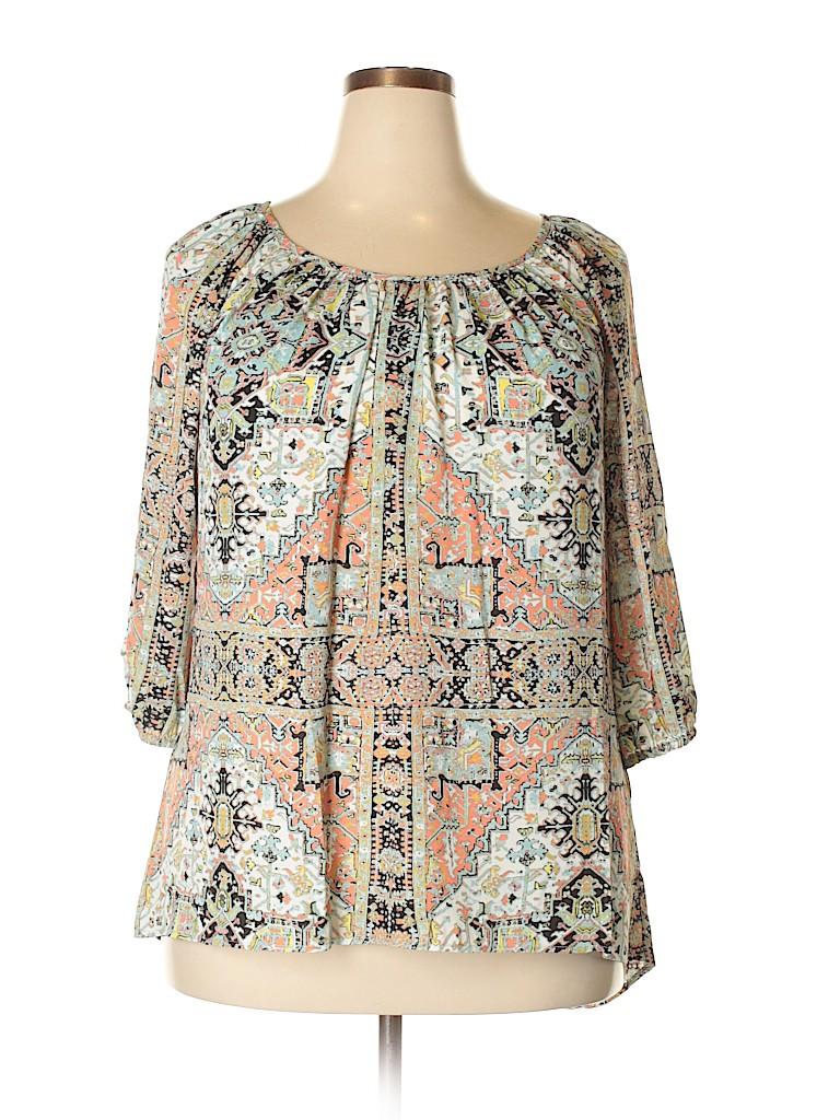 Karen Kane Women 3/4 Sleeve Blouse Size 1X (Plus)