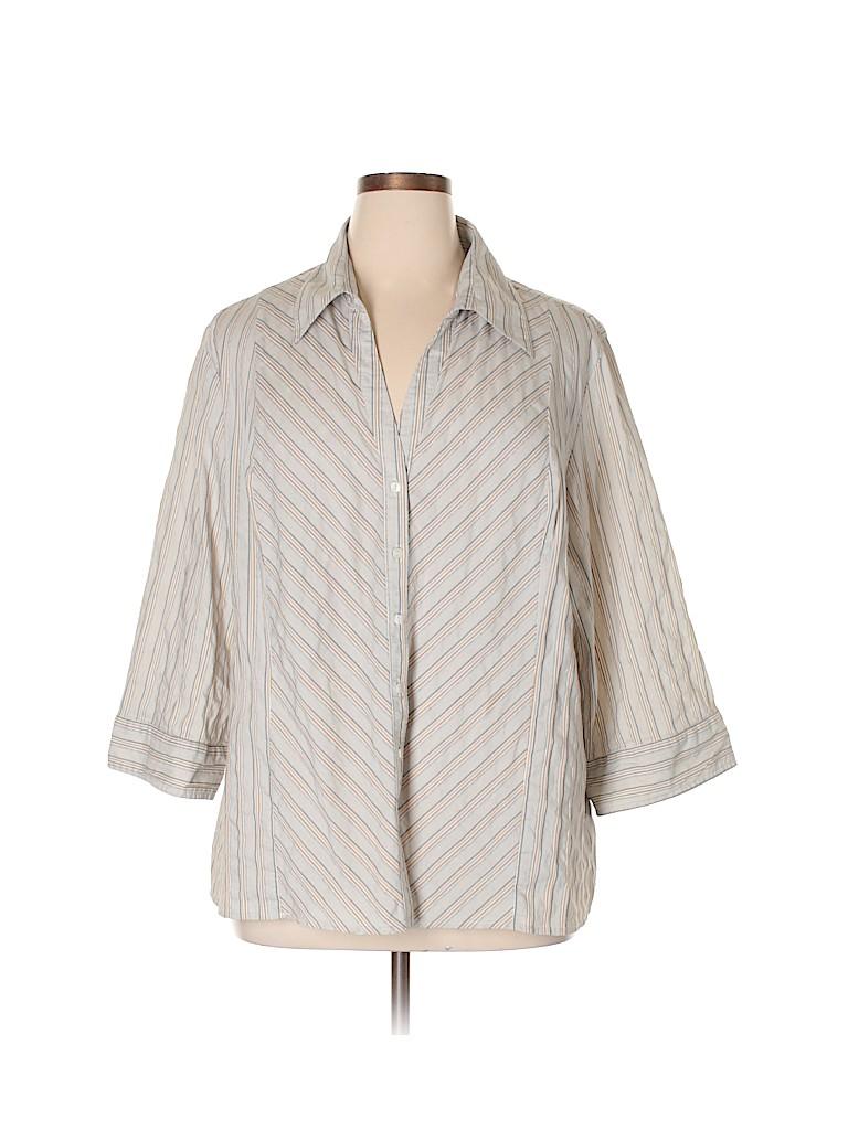 3599b348a28b3 Faded Glory Stripes Beige 3/4 Sleeve Button-Down Shirt Size 4X (Plus ...