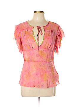 Trina Turk Short Sleeve Silk Top Size L