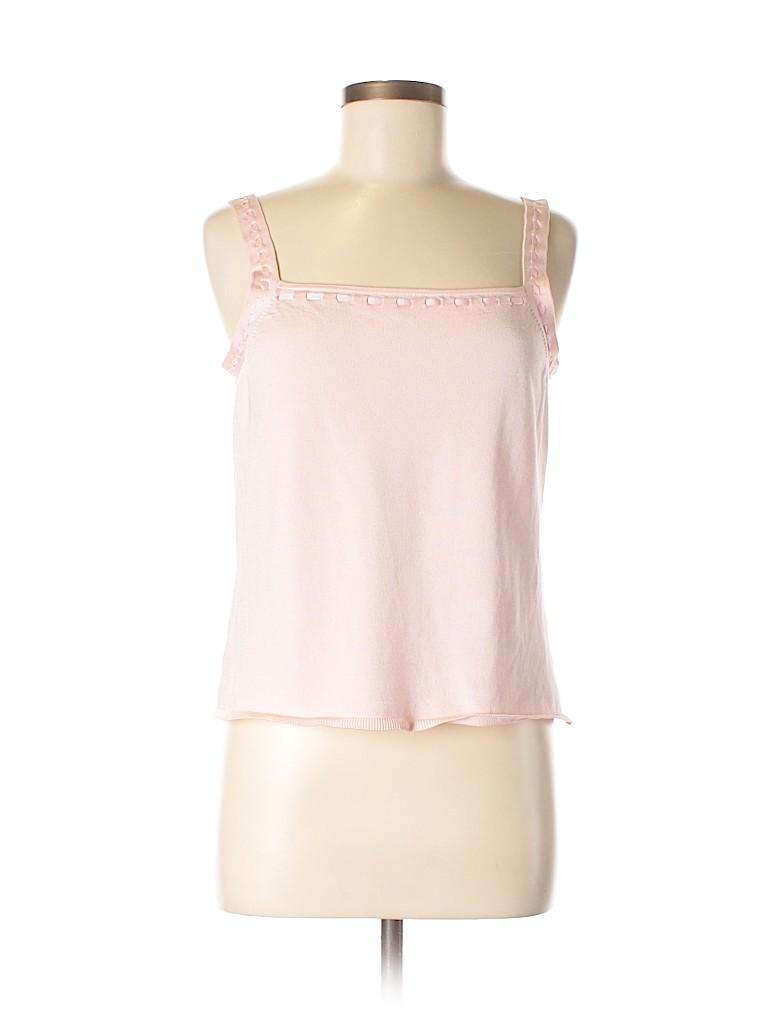 dd99b515c4e02 Oscar by Oscar De La Renta Solid Light Pink Sleeveless Silk Top Size ...