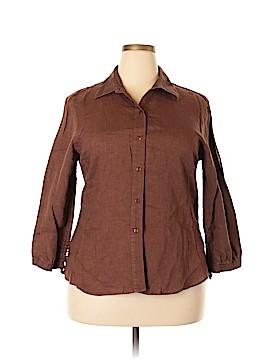 Foxcroft 3/4 Sleeve Button-Down Shirt Size 18 (Plus)