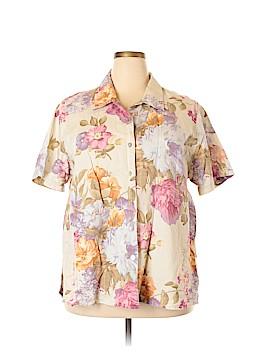 Lemon Grass Short Sleeve Button-Down Shirt Size 22 (Plus)