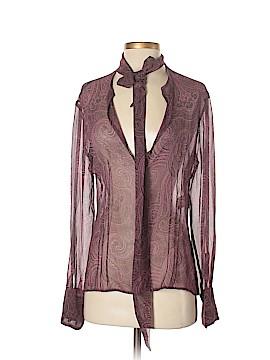Adrienne Vittadini Long Sleeve Silk Top Size 6