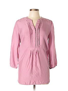 Garnet Hill Long Sleeve Silk Top Size 8