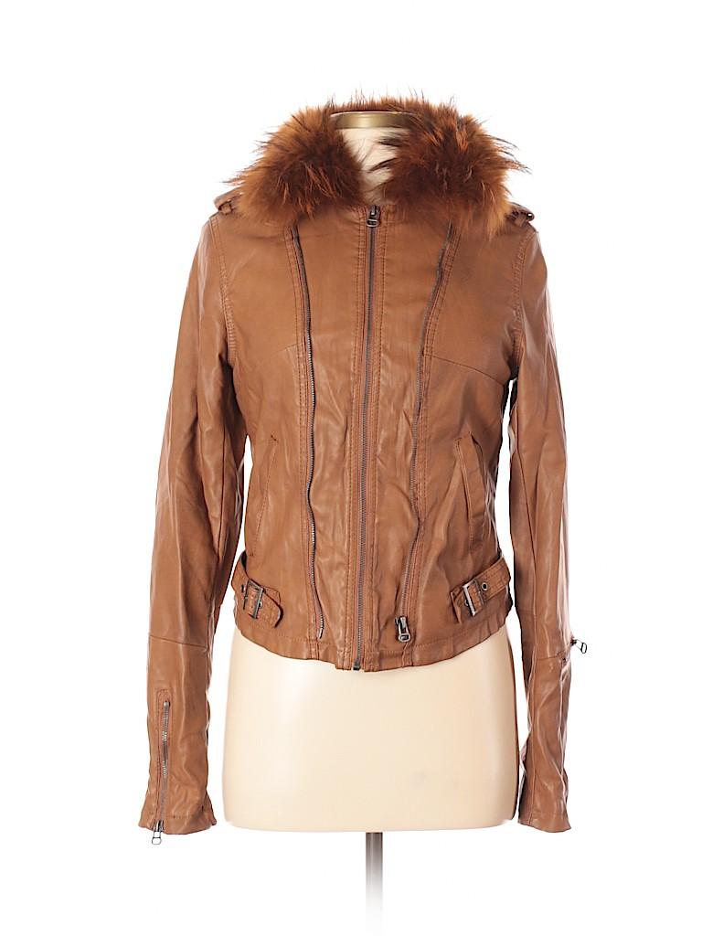 Costa Blanca Women Faux Leather Jacket Size S (Petite)