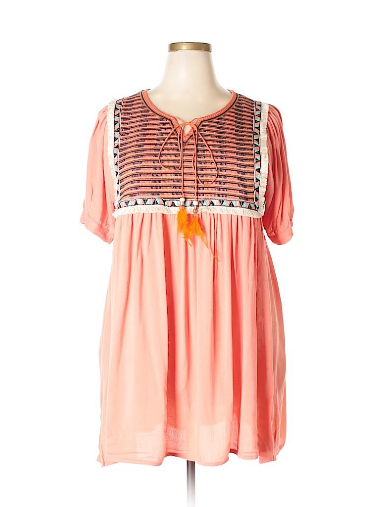 Velzera Women Short Sleeve Blouse Size 2X (Plus)