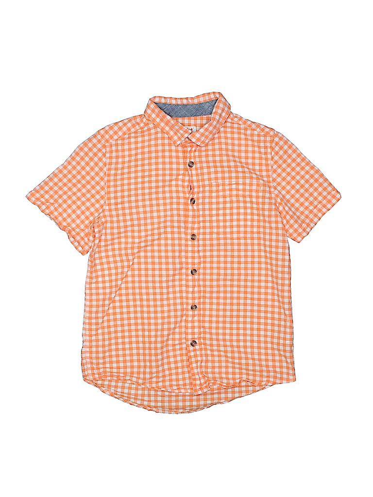 b058115d Cat & Jack 100% Cotton Checkered Gingham Orange Short Sleeve Button ...