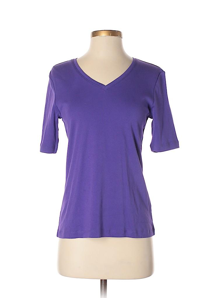 6d90086c664 Chico s 100% Cotton Solid Dark Purple Short Sleeve T-Shirt Size 0 ...