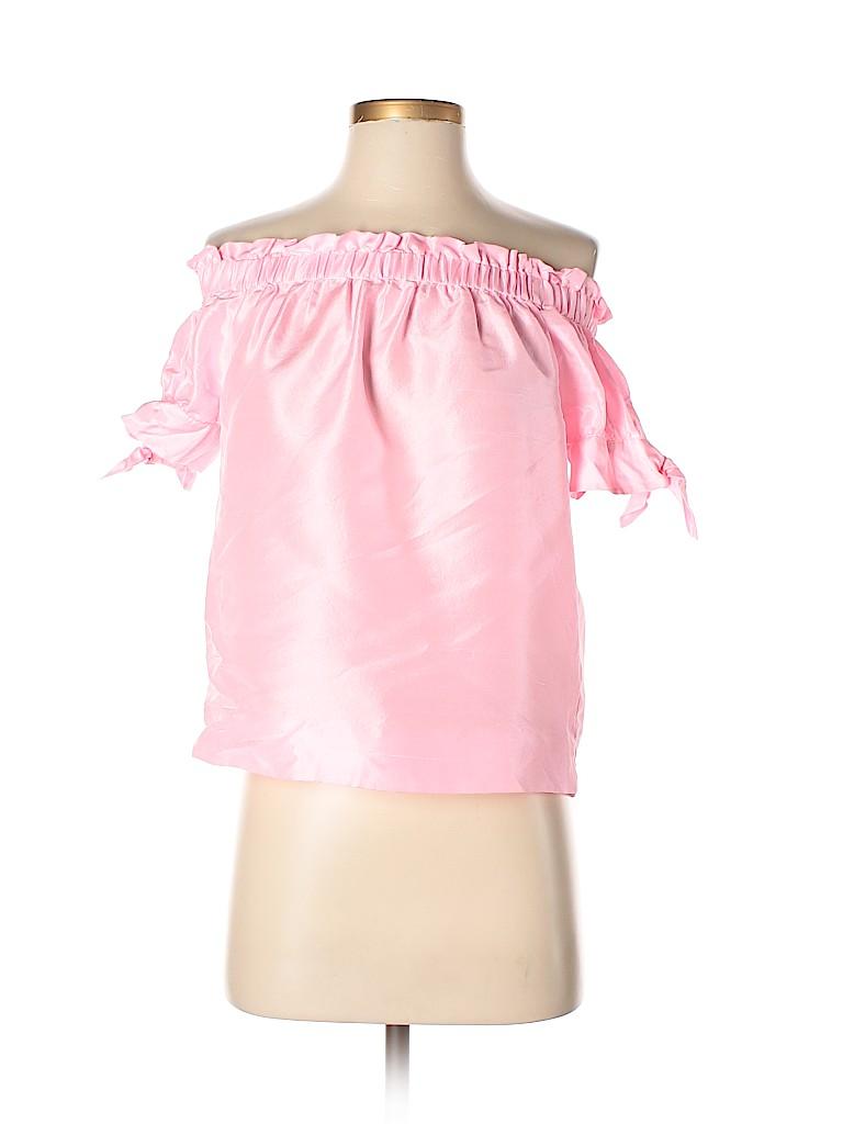 1819203bca211 J. Crew 100% Silk Metallic Light Pink Short Sleeve Silk Top Size 2 (Petite)  - 89% off