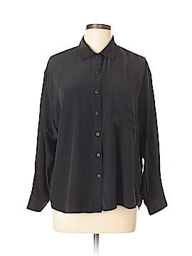 Equipment Long Sleeve Silk Top Size L