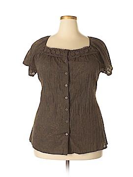 Kim Rogers Signature Short Sleeve Button-Down Shirt Size 2X (Plus)