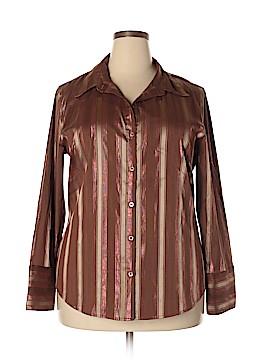 Caren Sport 3/4 Sleeve Button-Down Shirt Size 3X (Plus)