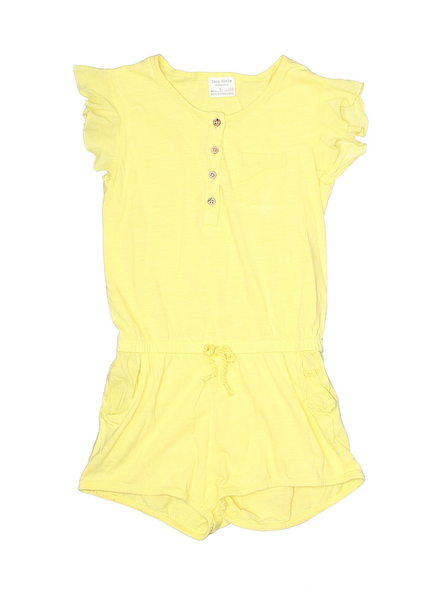 a6dbe07e0a1d Zara 100% Cotton Solid Yellow Romper Size 6 - 76% off