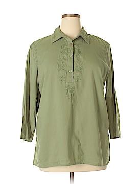 Lemon Grass 3/4 Sleeve Button-Down Shirt Size XL