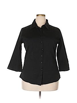 Doublju 3/4 Sleeve Button-Down Shirt Size 3X (Plus)
