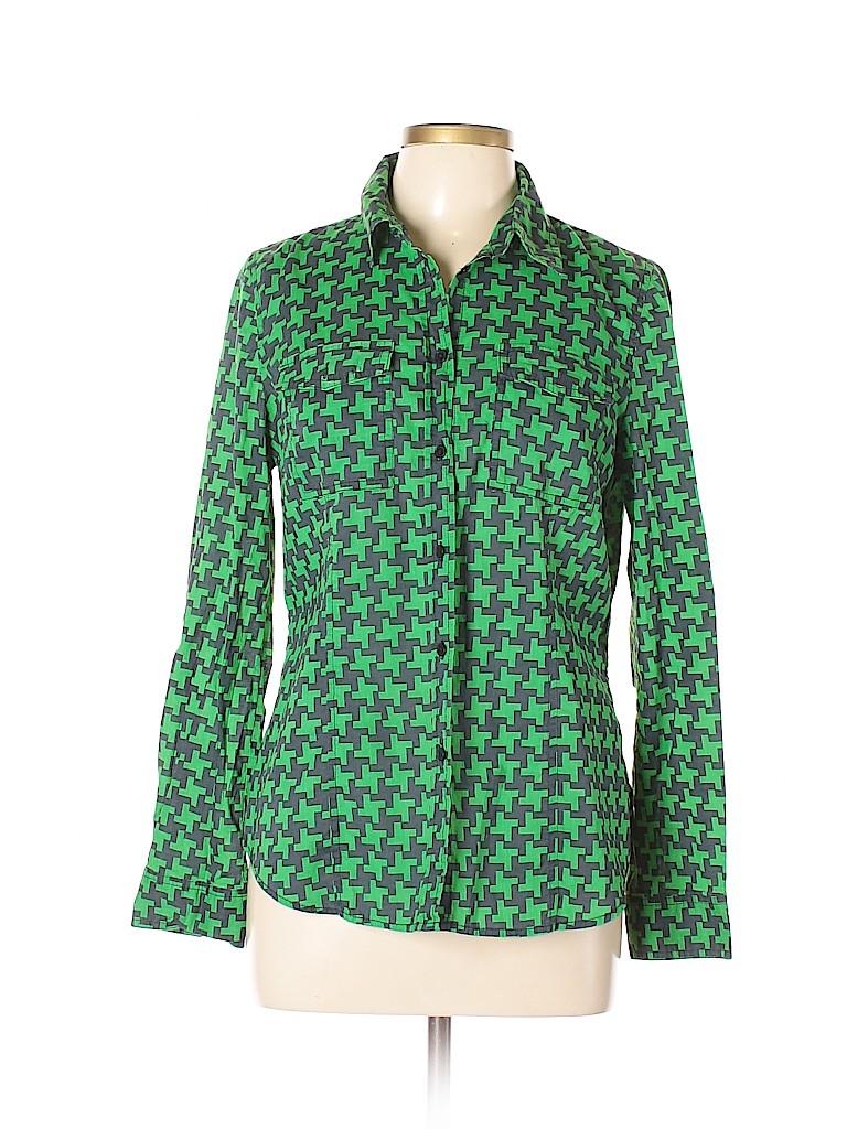 4b6d0c32d51281 MICHAEL Michael Kors 100% Cotton Houndstooth Green Long Sleeve ...