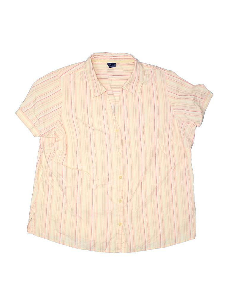 Basic Editions Women Short Sleeve Button-Down Shirt Size 1X (Plus)