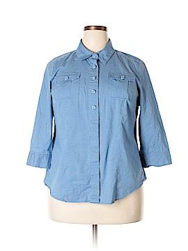 Liz & Co 3/4 Sleeve Button-Down Shirt Size 2X (Plus)