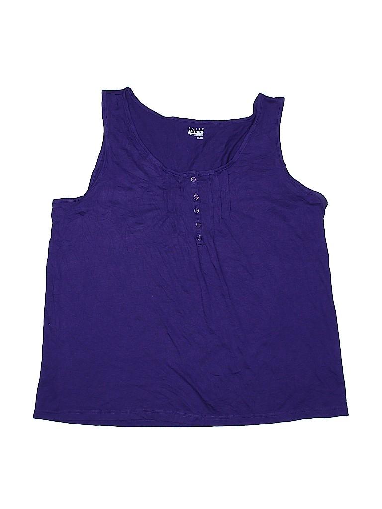 Basic Editions Women Sleeveless Henley Size XL