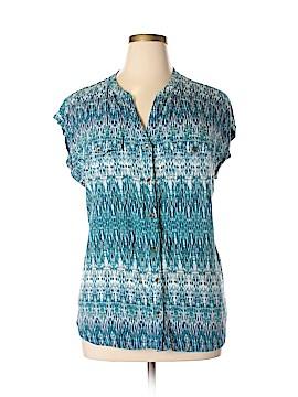 Great Northwest Indigo Short Sleeve Blouse Size 2X (Plus)